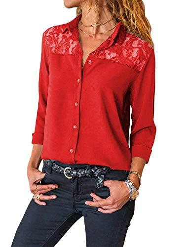 Onsoyours T-Shirt Femme Mode Col en V Revers Zipper Tops Élégant Imprimé Chemise À Manches Longues Slim Fit Blouse Basique Boutons Top Hauts Couleur Unie Shirt Rouge L
