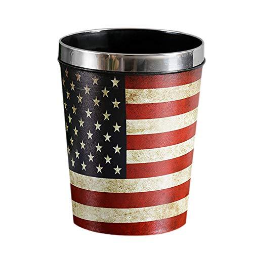 Hacoly Papierkorb Pressring aus Kunststoff Hoch Papiereimer Papierkörbe Mülleimer Convenient Durable Müllkorb für Büro Badezimmer Wohnzimmer Abfalleimer - Amerikanische Flagge