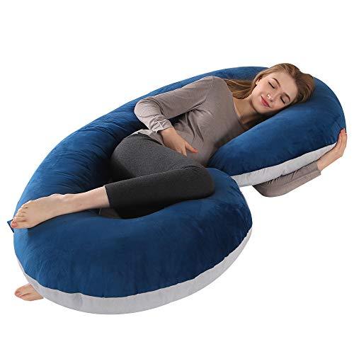 "CDEN Pregnancy Pillow, C Shaped Full Body Pillow 52"", Maternity Pillow Support for Back, Legs, Neck, Hips for Pregnant Women with Removable Washable Velvet Cover(LIGHTGREY/NAVYBLUE)"