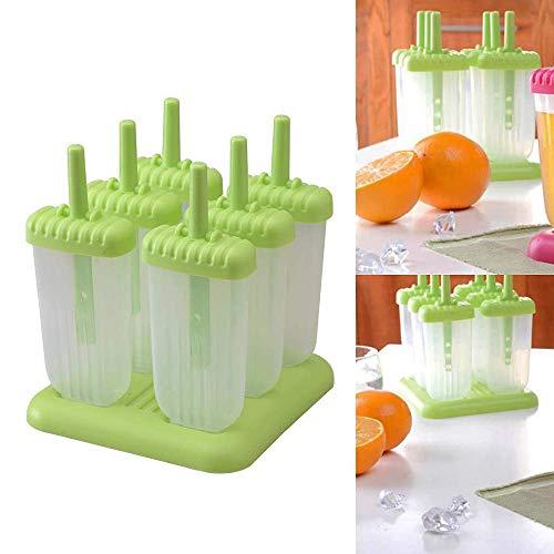 Moldes para paletas de hielo de 6 celdas, fabricante de paletas de helado congelado de bricolaje con tapa antiderrames reutilizable Fácil de limpiar, para la cocina casera hace alimentos congelados