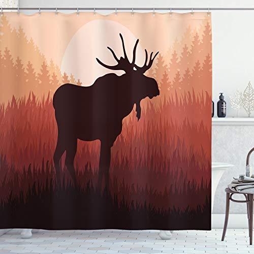 ABAKUHAUS Elch Duschvorhang, Wald Antlers Wilde Deer, Klare Farben aus Stoff inkl.12 Haken Farbfest Schimmel & Wasser Resistent, 175 x 200 cm, Pfirsich & Braun