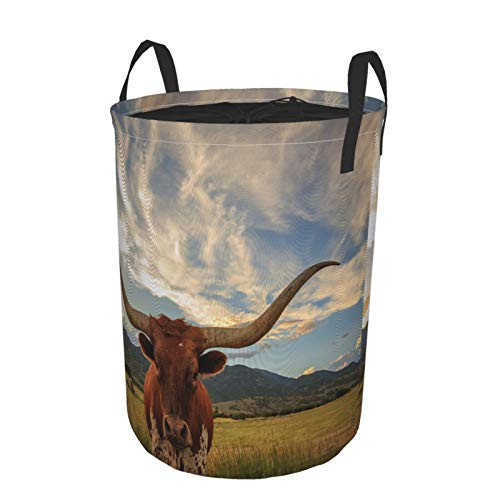 Zusammenklappbar Groß Wäschekorb für den Haushalt,Bull Longhorn Steer No Rural Utah USA,Lagerplatz Wasserdicht mit Kordelzug,16.5