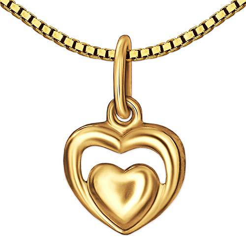Clever Jewelry Set gouden dames mini hart hanger 8 mm in 2-voudige look glanzend en eenvoudig gewelfd 333 goud 8 karaat met vergulde ketting Venezia 45 cm