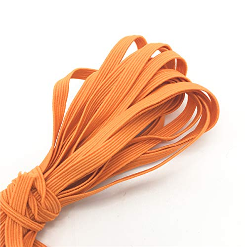 10 Yards Braided Flat Elastic Stretch Band for Sewing, Crafts, DIY Mask - 1/4' (6mm): US Stock Ready to Ship from Chicago Priority Shipping Upgrade Available (Orange (15))