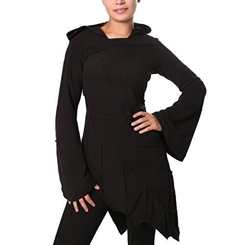 KUNST UND MAGIE Fleecekleid in Blattform aus Fleece mit Zipfelkapuze Fairy Goa, Farbe:Black/Schwarz, Größe Damen:42