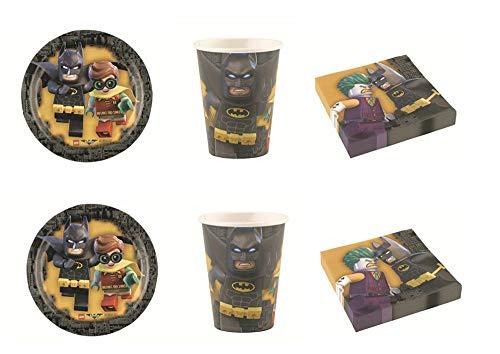 """Lote de Cubiertos Infantiles Desechables Decorativos""""Batman"""" (8 Vasos, 8 Platos y 20 Servilletas) .Vajillas. Juguetes para Fiestas de Cumpleaños, Bodas, Bautizos, Comuniones.L5"""