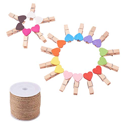PH PandaHall 100pcs 10 Colors Mini Wooden Heart Photo Clips Clothespins Photo Paper Peg Heart DIY Craft Clips with 109 Yards Jute Twine for Wedding Decoration Scrapbooking Wood Crafts