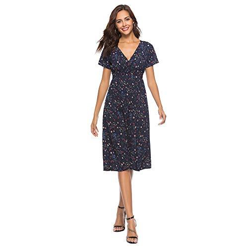 Modelos Populares Vestido de Fiesta de Verano con Cuello en V de Gasa con Estampado Floral de Mujer Vestido de Fiesta de Playa para Mujer