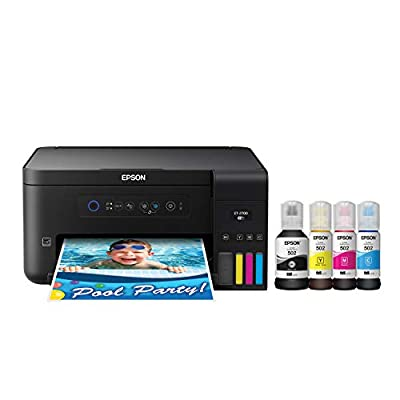 Epson Expression ET-2700 EcoTank Wireless Color All-in-One Supertank Printer with Scanner and Copier, Large