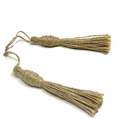 "Embellish Rustic Jute Tassel for Wood Bead Garland Farmhouse Country Decor Wooden Beads Crafts (2 Natural Jute Tassels 6"")"