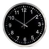 Reloj de pared Lawei de 12 pulgadas con marco de metal y tapa de cristal sin tictac, reloj de cuarzo – para el hogar, cocina, comedor, oficina, escuela