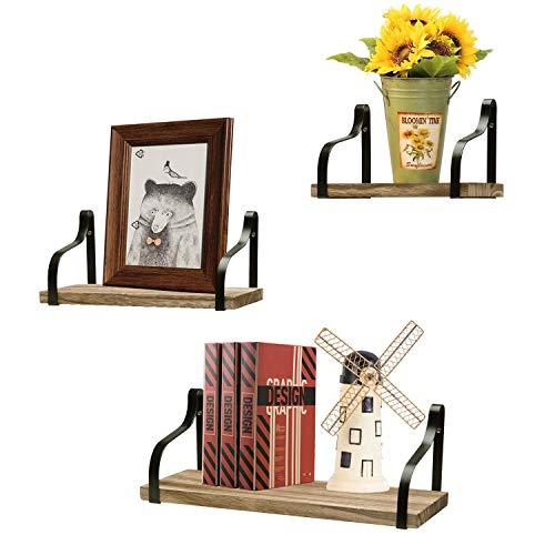 Ruiuzi - Juego de 3 estantes flotantes para pared, de madera rústica, para baño, salón, dormitorio, cocina y oficina, madera metal, Negro carbonizado., Talla única