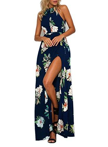 FFLMYUHULIU Women's Sexy Split Floral Off-shoulder Beach Party Maxi Dress (M, C2602Navy)