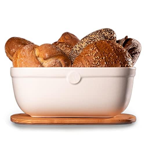 küchenspecht Brotkasten Keramik - weiße Brotbox 36x25x14cm mit Kirschholzdeckel - Brottopf Ton in Europa hergestellt - hält Brot extra lange frisch