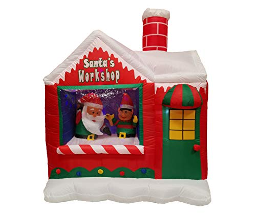 BZB Goods 6 Foot Christmas Inflatable Santa Claus Elf Workshop with Color LED Lights Yard Decoration