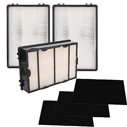 Grete Gotye 3 Pack HAPF600 True HEPA Replacement Filter B for Holmes HEPA Air Filter Include 3 Pack Carbon Filters- Replace HAPF600D, HAPF600D-U2