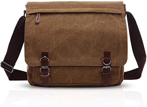 GJBXP Casual Postman Messenger Bag Uomo Portatile Business Student Outdoor Travel Borsa a Tracolla Grande Capacità Multitasca Canvas Resistente all'usura Marrone A, Noir B (Nero) - 4856305705289