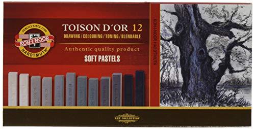 KOH-I-NOOR TOISON D'OR 8592 Weiche Künstler-Pastellkreiden in Grautönen(12 Stück)