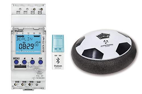 Theben Set SELEKTA 170 top3, Bluetooth Empfänger Obelisk und Avantrado Hoverball - Set 3-teilig, Digitale 1-Kanal Astro-Zeitschaltuhr mit App-Programmierung, perfekt für LEDs, Zeitschalter