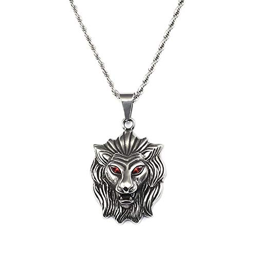 KnBoB Edelstahl Halskette für Herren Silber Löwenkopf mit Roten Augen Anhänger