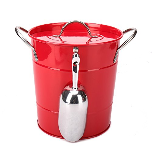 T586 4L Red Metal Double Walled Ice Bucket Set With Lid And Scoop