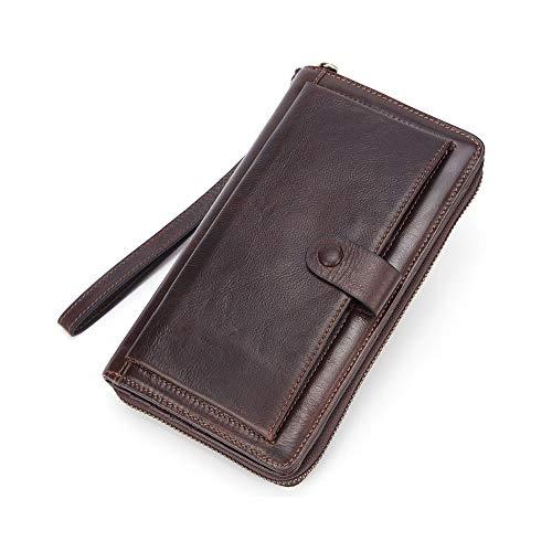 GENDI - Portafoglio lungo da uomo in pelle con chiusura a cerniera, tasca porta telefono e pochette grande capacità, Caff (Marrone) - GI115
