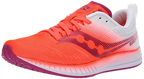 Saucony Women's Fastwitch 9 Road Running Shoe, Vizi red/White, 7.5 M US