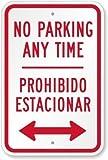 Vivityobert No Parking Anytime. Señal de metal con texto en inglés 'Prohibido Estacionarse (con flecha bidireccional) con texto en inglés 'Private Property Signs Aluminum', señal de advertencia divertida, letrero de metal para pared, decoración del hogar, cartel de garaje, 30,5 x 45,7 cm