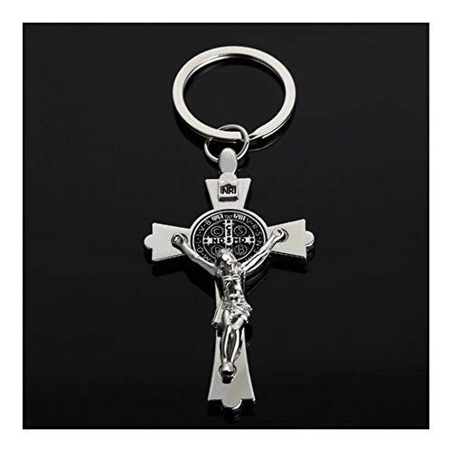 TangMengYun Llaveros Llavero de Metal Cruz de Jesús los Hombres de religión Cristiana crucifijo Clave Cadenas Pendientes del Coche del Anillo dominante for Las Llaves Encanta la joyería Llavero