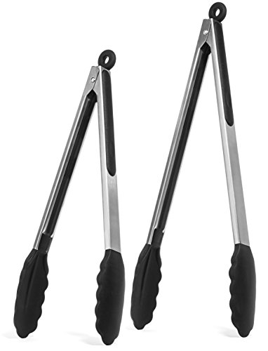 Elite KitchenwareTM Stainless Steel Tongs Set - Salad Tongs - Serving Tongs - Kitchen Tongs - 12 Inch & 14 Inch Cooking Tongs With Silicone Tips, Perfect Tongs For All Food & BBQ - Kitchen Utensils