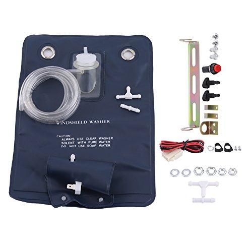 Kit de Bolsa de Bomba de Lavado de Parabrisas, 12V Kit de Bolsa de Bomba de Lavado de Parabrisas Universal con Interruptor de Botón de Chorro para Coches Clásicos