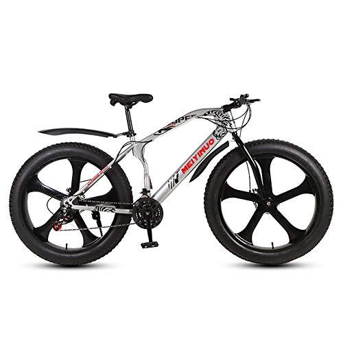 Outroad Fat Tire Mountain Bike Men,Snow Bike 26 Inch Speed,Double Disc Brake Anti Slip Bicycle 5 Spoke Wheels Silver 21 Speed