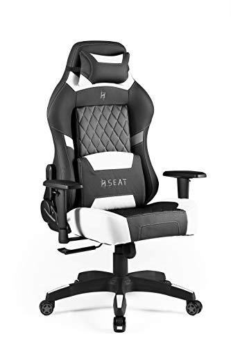 N. Seat Silla de Oficina para Juegos, Cuero de PVC, Negro/Blanco, 33.6x74.4x82cm