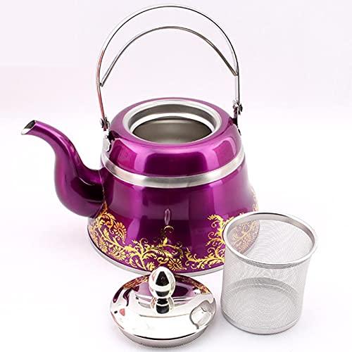 Tetera de 1L/1.5L/2L Pava Inox con Hervidor de Agua de Calidad Alimentariacon Mango Resistente Al Calor Mango de Tetera Adecuado para Cocina Inducción de Agua Café,Púrpura,1L