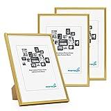 PHOTOLINI Bilderrahmen 3er Set 21x30 cm DIN A4 Modern Gold Kunststoff-Rahmen Schmal mit Glasscheibe und Zubehör