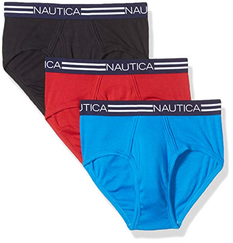 Nautica Men's Comfort Cotton Underwear Fly Front Brief-Multi Pack, Red/Black/Blue Lemonade, L
