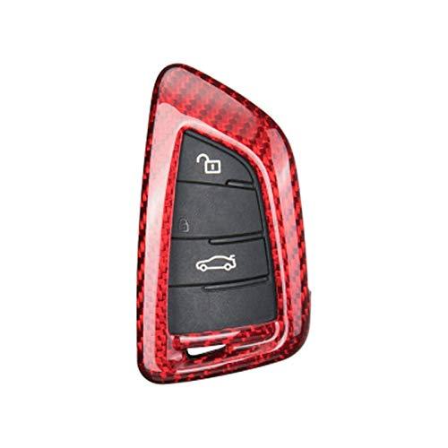 Piezas de automóviles para BMW 1 3 5 7 Series X1 X3 X4 X5 X6 M3 M5 F20 F30 F10 E90 E60 E30 E46 E34 E70 Cubierta Protectora De Llave De Fibra De Carbono Real para Coche Decoración (Color : A-Red)