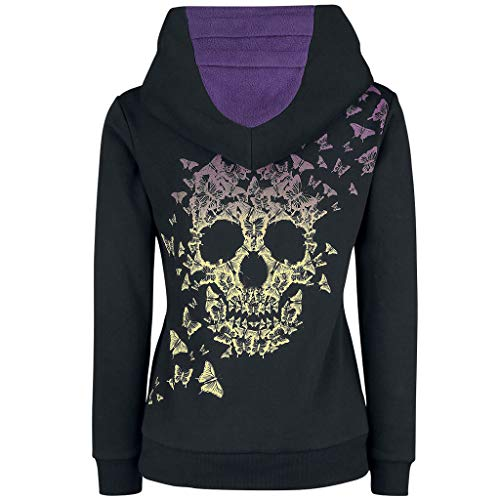 SSMENG Womens Skull Printed Hoodies Sweatshirt Plus Size Steampunk Gothic Printed Kangroo Pockets Pullover Tops(Purple,X-Large)