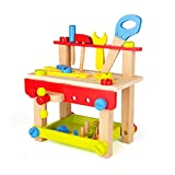 SainSmart Jr. Wooden Tool Workbench Toddler Bench Workshop Set, Pretend Carpenters Play with Toolbox Activity Table, Building Construction Toy for 1 2 3 Years Old Kids