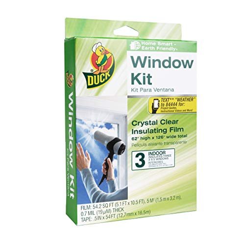 Duck Brand Indoor 3-Window Shrink Film Insulator Kit, 62-Inch x 126-Inch, 281066