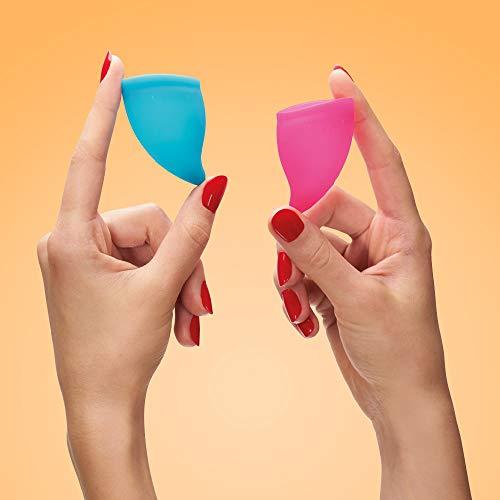 FUN FACTORY FUN CUP SIZE A – Zwei Menstruationstassen inkl. Tasche Silikon ( Rosa/Türkis ) - 5