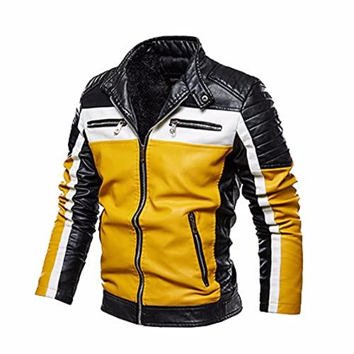 TTFC Chaqueta de Cuero para Hombre, Chaquetas de Cuero para Hombre Chaqueta de Motociclista de Cuero para Motocicleta Chaqueta de Motociclista de Cuero para Hombres Yellow-XL