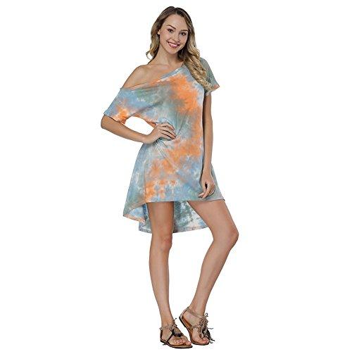 OPSLEA Damen-Minikleid, schulterfrei, kurzärmelig, Ombre, mit Taschen Gr. Medium, Orange