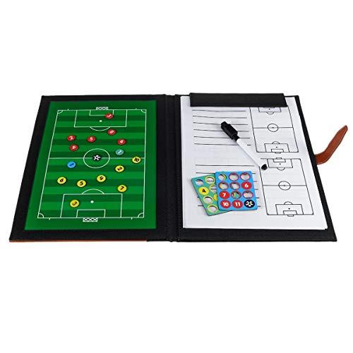 InChengGouFouX Magnetic Tactic Board PU-Leder-Brett Fußball-Trainingsbedarf Fußball Coaching Unterricht Coach Board Ordner (Farbe : Black, Size : One Size)