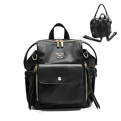 Leather Diaper Bag Backpack by miss fong, Small Mini Backpack Purse for Women