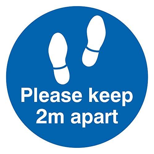 Viking Signs Señal gráfica con texto en inglés «Please Keep 2m apart floor», vinilo para suelo