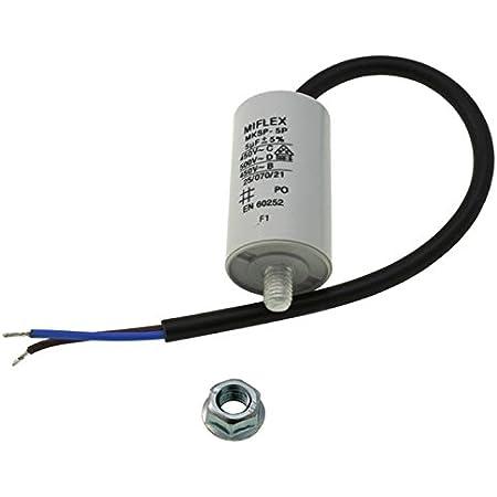 Aerzetix Kondensator st/ändigen Arbeitsprogramm f/ür Motor 50/µF 450V mit 6,3 mm Anschl/üssen