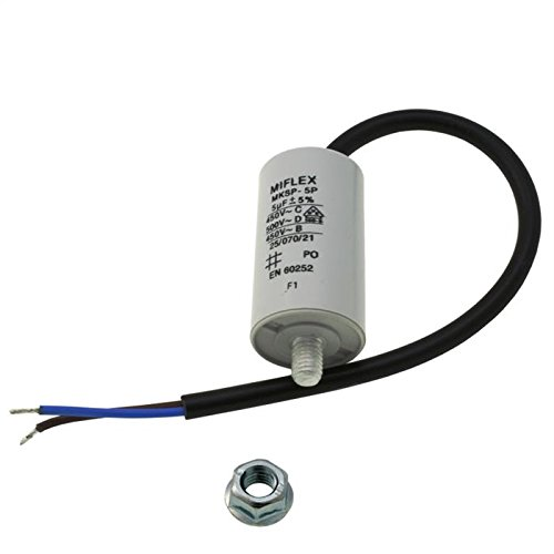 Miflex 5uF - Condensatore di avviamento per motore, 5µF, 450 V, 30 x 53 mm
