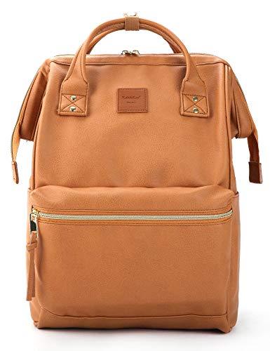 Kah&Kee Leder Rucksack Wickeltasche mit Laptopfach Travel School für Damen (Kamel Beige, Groß)