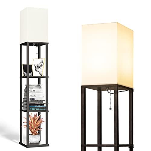 addlon LED Modern Shelf Floor Lamp with White Lamp Shade and LED Bulb - Display Shelves Floor Lamps...